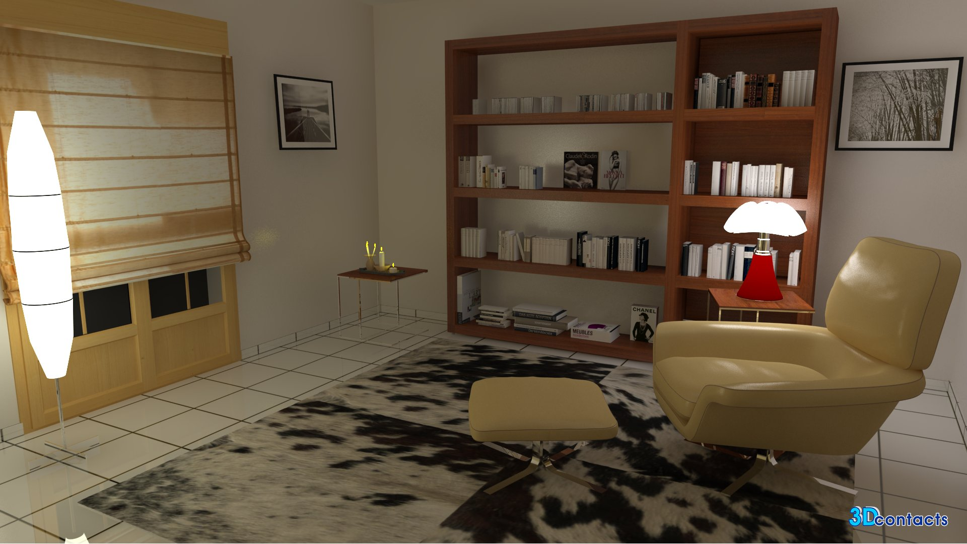 3d contacts salon biblioth que et fauteuil rodolfo. Black Bedroom Furniture Sets. Home Design Ideas