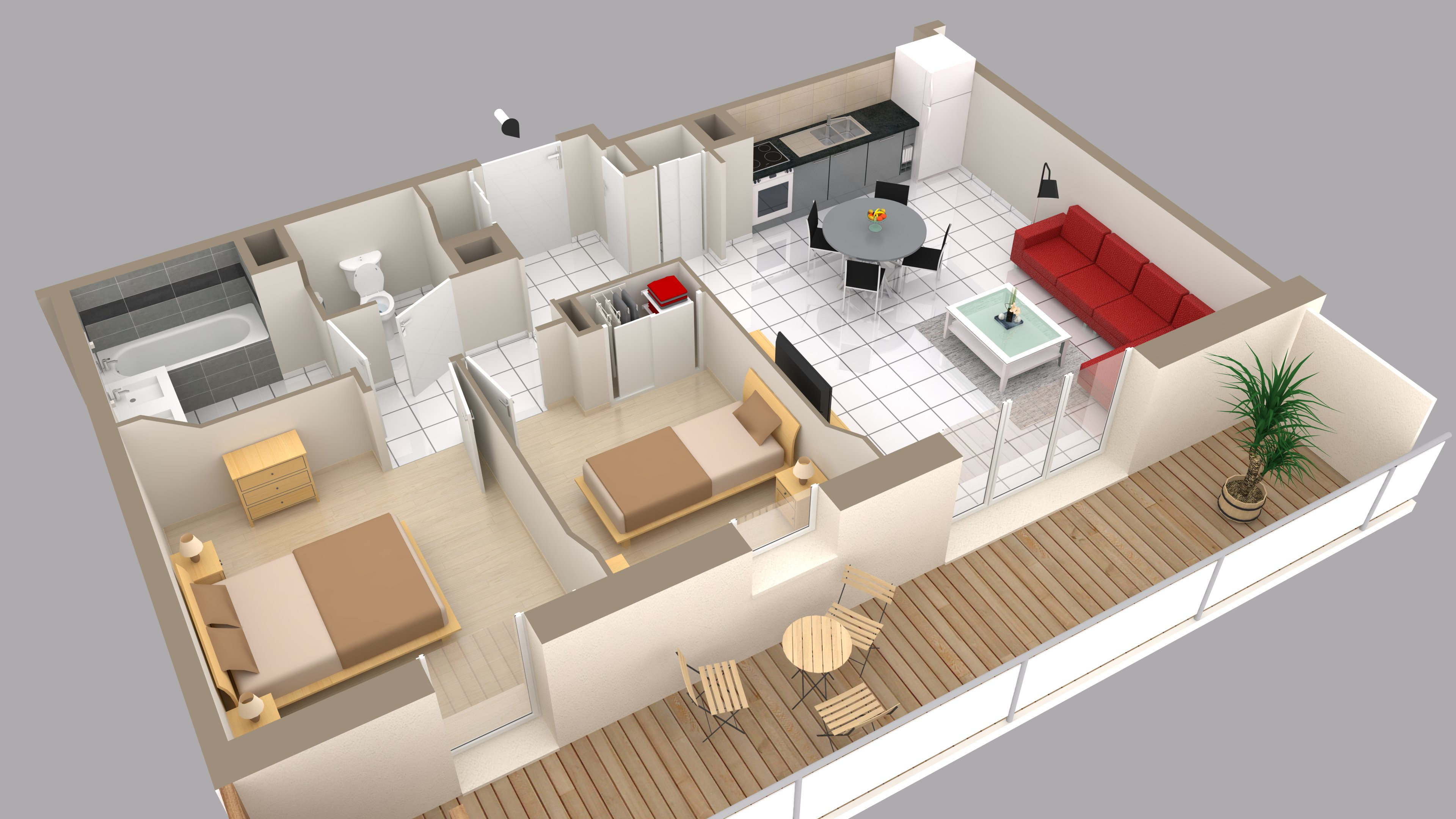 3d contacts fiche la vue d 39 ensemble meubl e en perspective for Plan interieur maison en d